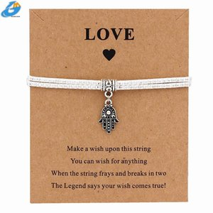 DGW New Hamsa Palm Charm Wish Card Bracelet Handmade Pendant Bracelet for Women Men Jewelry Yoga Gift Lucky Royal Blue Black QW