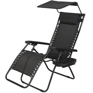 Nouveau Zero Gravity Chair Lounge Chaises de jardin en plein air avec porte-gobelet à baldaquin