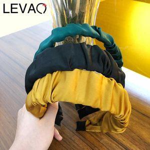 Levao Moda Womens Ampla Dobre Hairband Headband senhora elegante cor sólida cetim cabelo faixa enfeites de cabelo para fêmeas meninas