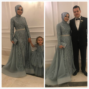 2019 Aso Ebi arabe musulman dentelle perlée robes de soirée à manches longues A-ligne Robes de bal Tulle fête officielle deuxième Robes de mariée de réception