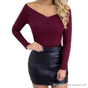 Collo Maglieria Top Designer casuali solidi magliette lunghe delle tute del manicotto di modo delle donne delle donne sexy V
