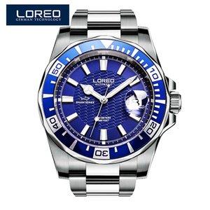 Loreo Marka Erkekler Otomatik mavi saatler Erkekler Rv'ler 200 M Su geçirmez İş Spor Mekanik izle saatler