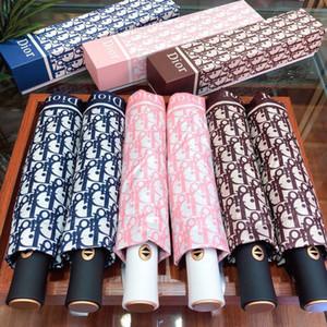 Moda Imprimir Carta chuvas delicada Windproof três vezes Umbrella clássico Proteção UV ensolarado guarda-chuva com caixa completa guarda-chuva automático