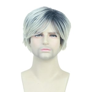 Men Synthetic Wig Blend Color Fluffy Layered Hairpieces Oblique Bangs 10inch