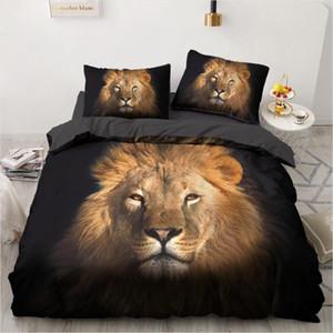 3D Bedding Sets Lion Black Duvet Quilt Cover Set Comforter Bed Linen Pillowcase King Queen Full Size 140*200cm Home Texitle