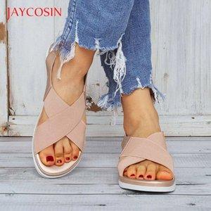 Jaycosin Sndals Women Shoes Soft genuine women casual summer beach shoes female plus size 36-42 sandal female flat sandalias 12 Y200702