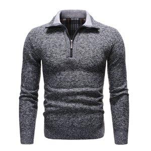 NEGIZBER 2020 New Autumn Winter Mens Sweater Solid Slim Fit Pullovers Men Sweaters Casual Thick Fleece Turtleneck Sweater Men