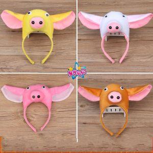 Kinder führen Haarband Tier Schweine Pandas Affen Elefant Goldfisch Enten Frösche und Tiger Dreidimensionales Stirnband 3 3wy k1