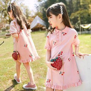 Rosa Verde Bordados Infantil Verão, Cereja, Ruffles vestido para crianças Girls School Princess Vestidos Vestidos Roupa Nova 2020