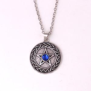 HY154 Alta popularidade link cadeia de jóias quente de cinco pontas estrela rodada talismã pingente religioso colar com pedra preciosa