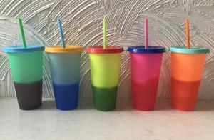 Cambiare colore cambiamento Coppa Thermochromic Colore tazza PP Food Grade con coperchio e paglia 5 Opzioni colore