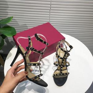 Новый 2020 женщин натуральная кожа с заклепками 4-ремень высокие каблуки сандалии, дизайнер летние насосы 9.5 см 6.5 см каблук платье обувь плюс размер 35-41