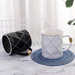 Nordic d'or noir et blanc Grille géométrie en céramique tasse à café en porcelaine boire du jus tasse de café tasse de lait Thé