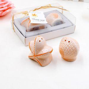 200Pcs100Box Livraison gratuite Étoile de mer Shell sel poivrières Favors plage Themed Wedding Party faveurs et cadeaux pour les invités
