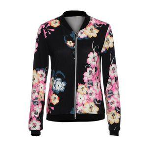 2019 caldo di vendita delle donne di autunno rivestimento sottile del cappotto modo delle signore del motociclista Celeb Camo fiore floreale Stampa Zipper Up Bomber Giacche W510
