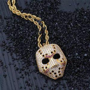 Vintage Iced Out Maske Anhänger Halskette mit Goldkette Mode Hip Hop Schmuck Zirkonia Herren Halskette
