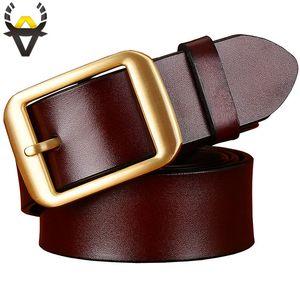 Cintos de couro genuíno de moda para homens chapeamento de cobre liga de homem Pin fivela de cinto Qualidade pele de vaca segunda camada pulseira Brown masculino