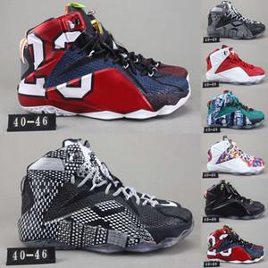 Yüksek Kaliteli Atletik LeBron 12 Elite Çocuk Basket ayakkabı erkekler neler The Black Beyaz Metalik altın Multi Sneaker Boyut 40-47