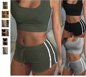 Beiläufiges Yoga Tracksuits Sets Multi Color Double Side Stripe Gürtel Shorts Bra Tank Top Anzug Fitness Gym Set Kleidung Weibliche Bekleidung 18ay E19