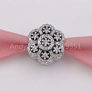 Auténticos 925 cuentas de plata esterlina de hielo encanto encantos floral se adapta al estilo europeo joyería de Pandora collar de las pulseras 791998CZ
