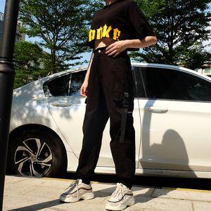 Womens Hip Hop Cargo Loose Pants Long Length Streetwear Elastic High Waist Pocket Pantalon Femme Pants