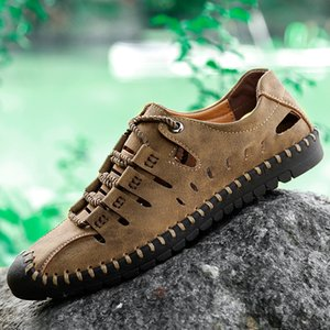 Mens Breathable Hiking Boots Summer Outdoor Hollow Genuine Leather Hiking Climbing Trekking Mountain Sneakers for Men Zapatos T190920