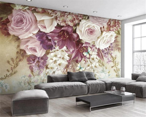 3d Wall Paper for Bedroom Romantic Modern fresh oil painting flower TV background wall painting Atmospheric Interior Decoration Wallpaper