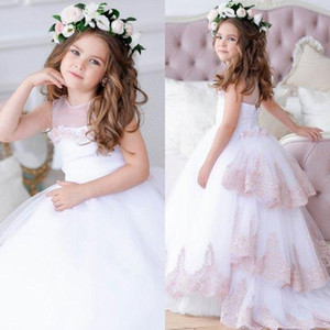 Nova Jóia Branca Vestidos Da Menina de Flor 2019 Blush Júnior Meninas Pageant Vestido de Renda Do Bebê menina Vestido De Noiva De Tule Tutu Crianças Meninas Pageant Vestidos