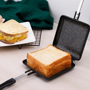 Non-Stick Sandwich Maker Ferro Pão Toast Pequeno-almoço Máquina Waffle Pancake Baking Churrasco Forno Mold Grill Frigideira T200414