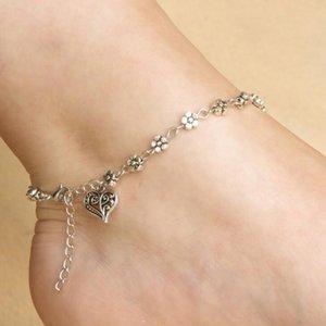 Fußkettchen Armband Silber Hohle Pflaume Blume Fuß Ornament Pfirsich Herzförmige Kette Bracele Fußkette für Strand Nette Fußkettchen Frauen und Mädchen