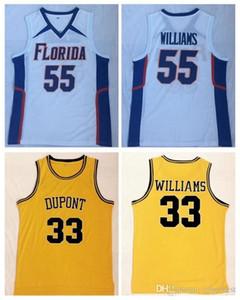Chocolate blanco Jason Williams # 55 Florida Gators Jersey de la universidad de baloncesto Williams # 33 DuPont Secundaria cosido camisas NCAA Vintage