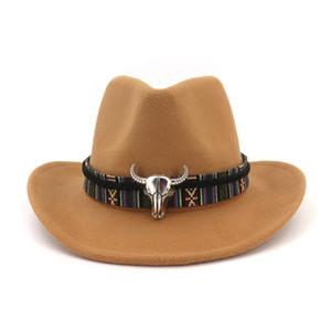 Carnival unisex del sombrero de vaquero de ala rollo de fieltro de lana para hombre Fedora señoras de la manera sombreros occidentales metal decorado del siluro Trilby