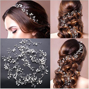 NUEVA dama de honor nupcial de plata hecho a mano del Rhinestone de la perla de la venda del hairband de lujo accesorios para el cabello Headpiece Fascinators Tiara de oro