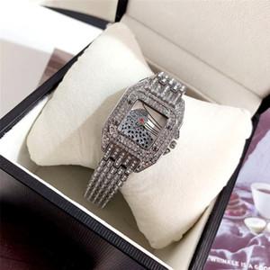 Модный бренд хорошее качество красивая женская девушка леопард Кристалл квадратный стиль циферблат группа из нержавеющей стали Кварцевые наручные часы CA28
