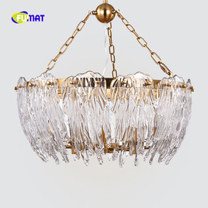 FUMAT Gold Post Modern Water Drop O Rectangular K9 Crystal Stainess Acero Iluminación colgante LED Lámpara de lujo para casa dúplex