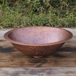 ovale en cuivre Vanity évier main lavabo martelée martelées à la main bassin de cuivre pur
