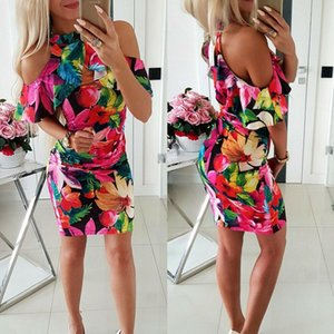 2019 New Women Boho Floral Bodycon Short Mini Dress Sexy Ladies Summer Beach Casual Sundress Holiday arrival Clothes
