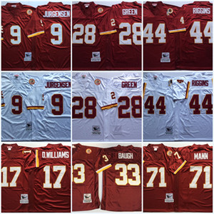 Mens # 33 Sammy Baugh Vintage Football Jersey # 28 Darrell Green 9 Sonny Jurgensen 44 John Riggins 17 Doug Williams 71 Charles Mann Jersey