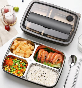 Bento Lunch Box Stainless Steel Plastic 1200ml Lunch Lattice boxes Kitchen Food Container For Kids Heated Lunch Case GGA3226