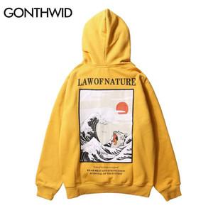 Impreso con capucha diseñador japonés bordado divertido de la onda del gato Impreso hoodies del estilo de Japón Hip Hop Sudaderas Casual Streetwear