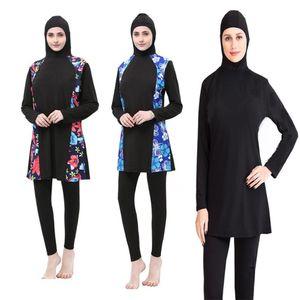 Traje de baño musulmán más el tamaño de traje de baño de las mujeres de la cara llena islámico Hijab del traje de baño traje de baño con el Islam Burning Flores Ropa Burkinis