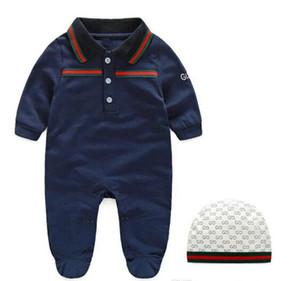 Sıcak Sat Yenidoğan bebek kıyafetleri uzun kollu tasarımcı bebek tulum Bebek giyim bebek erkek kız jumpsuits + şapka
