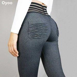 Oyoo Sexy Bulfort Leggings Cintura alta Yoga Calças com bolso malha cintura calças montanhas bonitinho fitness legging ruched activewear xoxdc