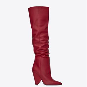 Moroder en cuir noir cuissarde Femmes cône Hauts talons Chevalier Bottes court / long Botas Robe Chaussures de mariage avec la boîte originale