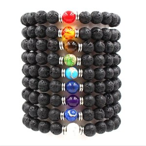 9colors 7 Chakra Natural Black Lava Stone Beads Elastic Bracelet Essential Oil Diffuser Rock Beaded Volcanic Rock Strys