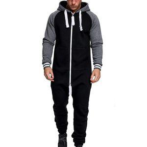 Men One-piece Garment Patchwork Pajama Playsuit Mens Zipper Hoodie Camouflage Jumpsuit Streetwear Fashion Autumn Winter Overalls