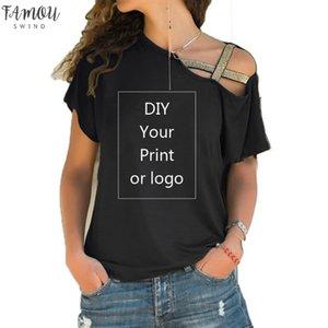 Customized Print T Shirt For Women Diy Your Like Photo Or Logo Top T Shirt Femme Irregular Skew Cross Bandage Size