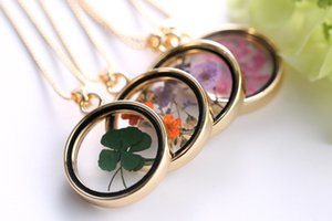 Wholesale- Clovers gold plated multicolor dried flower round pendant Clover floating locket charms necklace pendant for woman gift FL11