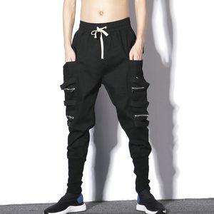 MarchWind marca de diseño Negro Streetwear Harem Hombres pantalón cremallera Bolsillos masculinos pantalones ocasionales adelgazan Joggers Hombres
