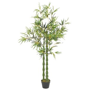 Planta artificial de bambú con el pote de 160 cm engomadas de la pared verde